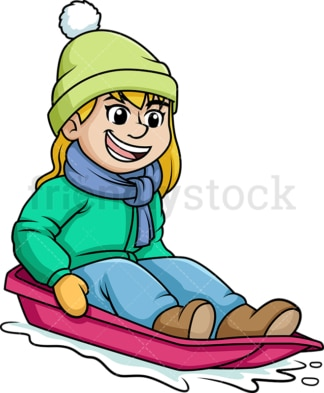Girl riding snow sled. PNG - JPG and vector EPS (infinitely scalable).