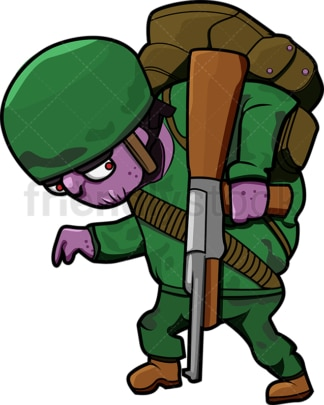 Awkward zombie soldier cartoon. PNG - JPG and vector EPS (infinitely scalable).