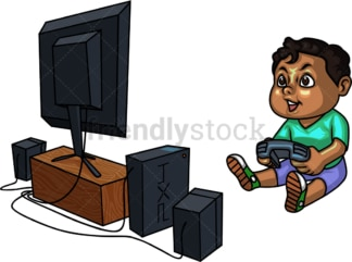 Black boy playing a video game. PNG - JPG and vector EPS (infinitely scalable).