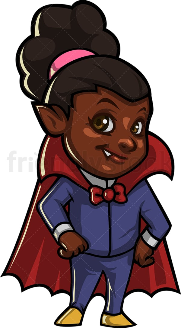 Black girl vampire costume trick or treat. PNG - JPG and vector EPS (infinitely scalable).