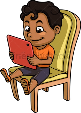 Black kid using tablet. PNG - JPG and vector EPS (infinitely scalable).