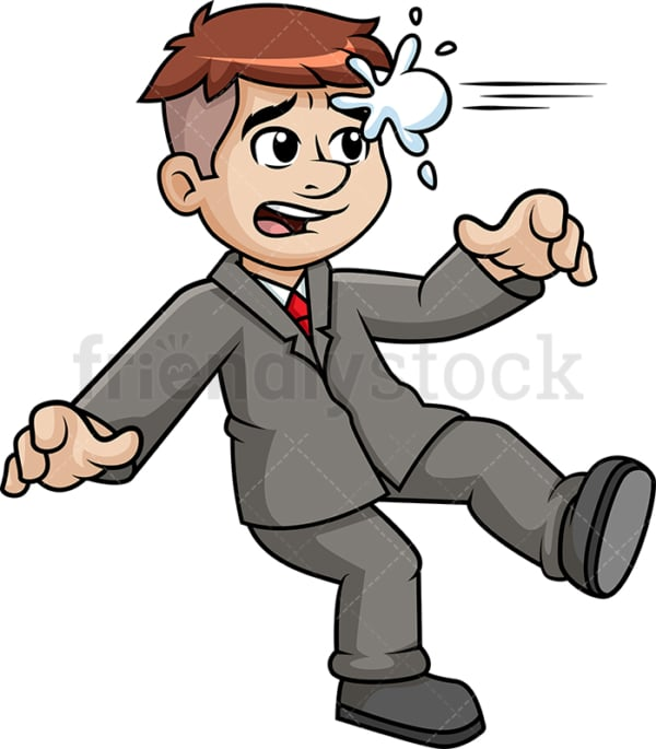 Business man getting hit with snowball. PNG - JPG and vector EPS (infinitely scalable).