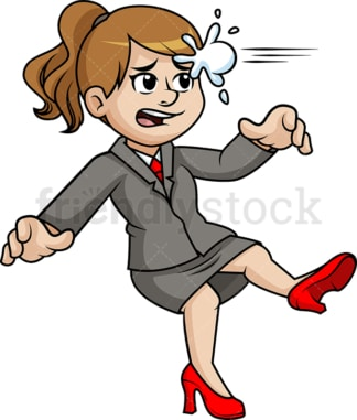 Business woman getting hit with snowball. PNG - JPG and vector EPS (infinitely scalable).