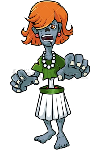 Creepy female zombie cartoon. PNG - JPG and vector EPS (infinitely scalable).