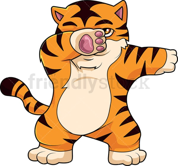 Dabbing tiger cartoon. PNG - JPG and vector EPS (infinitely scalable).