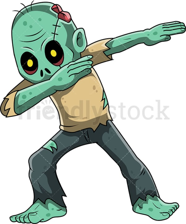 Dabbing zombie cartoon. PNG - JPG and vector EPS (infinitely scalable).