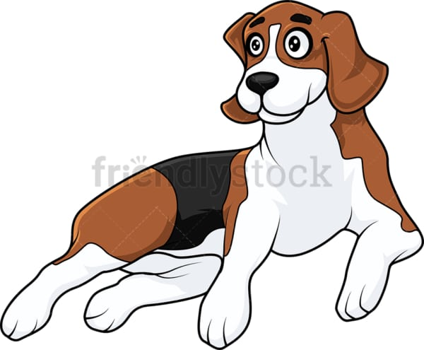 Happy beagle dog laying to the ground. PNG - JPG and vector EPS (infinitely scalable).