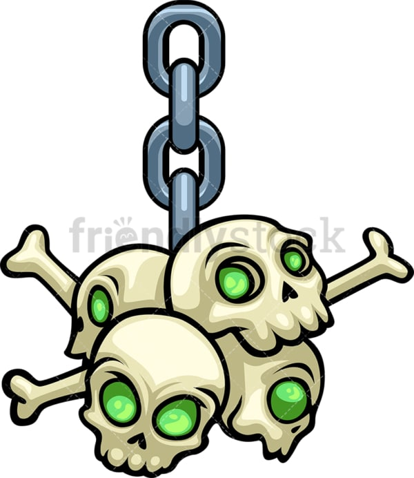 Skulls hanging from chain. PNG - JPG and vector EPS file formats (infinitely scalable). Image isolated on transparent background.