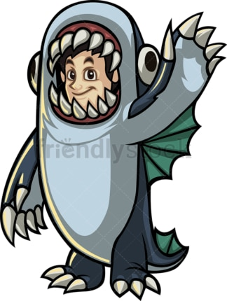 Man in sea monster halloween costume. PNG - JPG and vector EPS file formats (infinitely scalable).