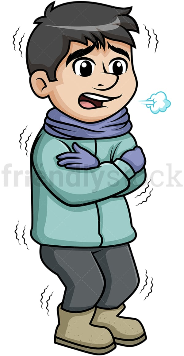 Man shivering from winter cold. PNG - JPG and vector EPS (infinitely scalable).