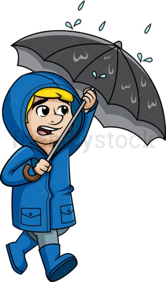 Guy walking in the rain with heavy wind. PNG - JPG and vector EPS (infinitely scalable).