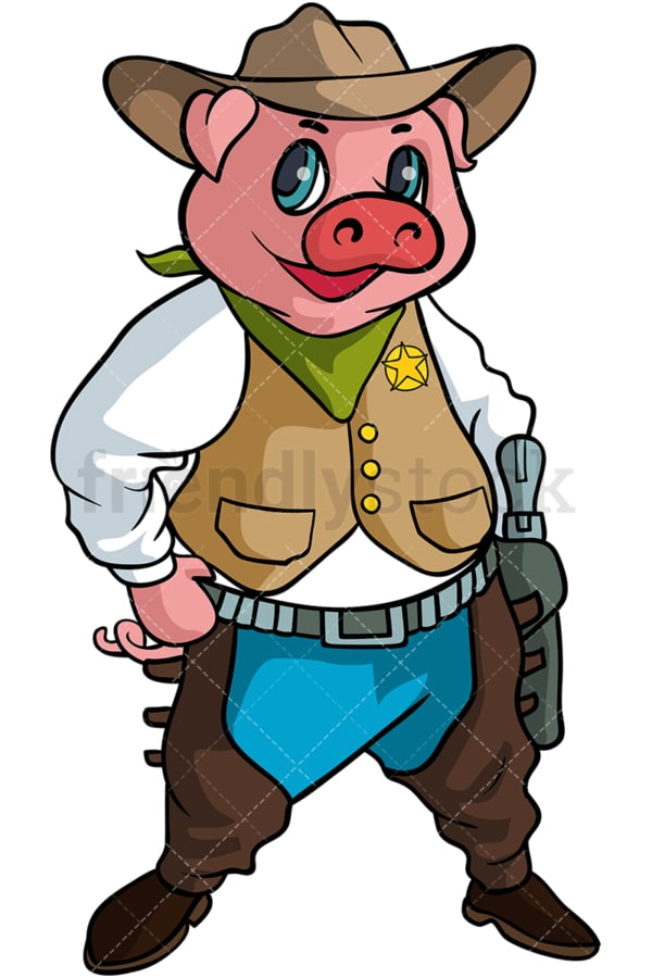 Pig cowboy cartoon. PNG - JPG and vector EPS (infinitely scalable).