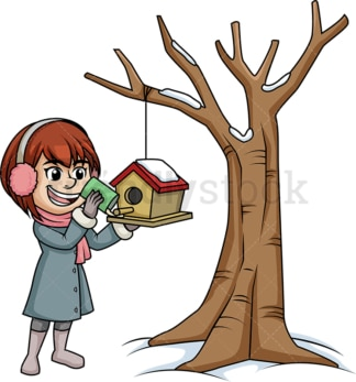 Woman putting bird food in birdhouse. PNG - JPG and vector EPS (infinitely scalable).