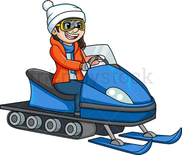 Girl on a snowmobile. PNG - JPG and vector EPS (infinitely scalable).