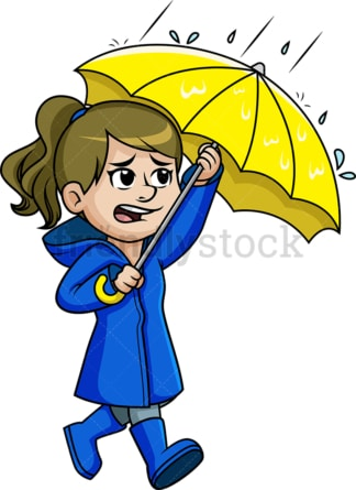 Girl walking in the rain. PNG - JPG and vector EPS (infinitely scalable).