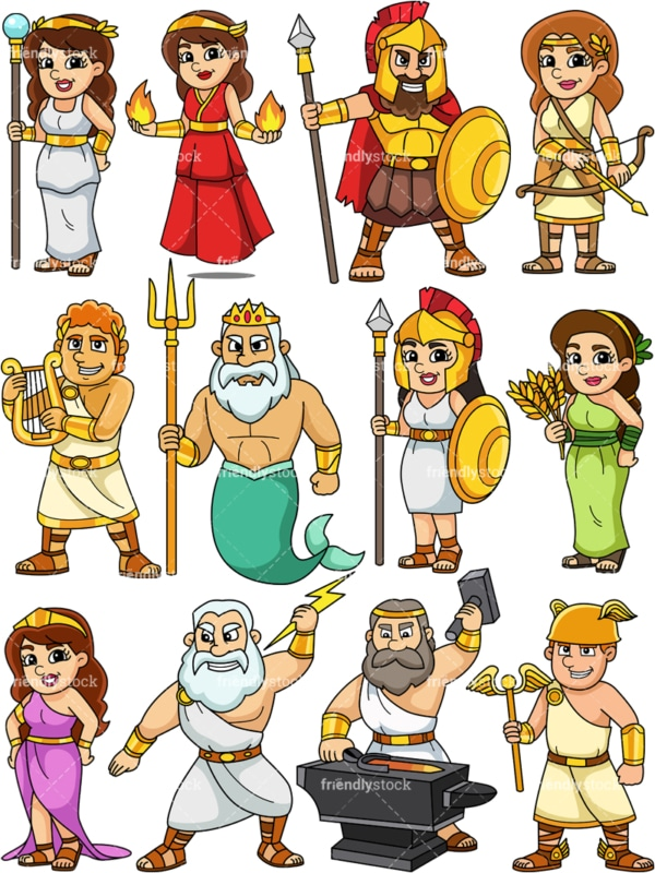 Ancient greek gods. PNG - JPG and vector EPS file formats (infinitely scalable). Images isolated on transparent background.