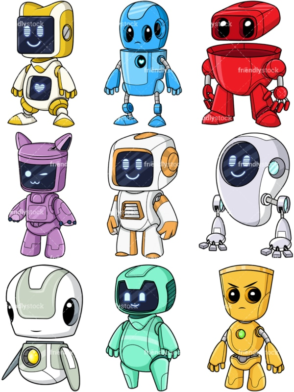 Cute robots collection. PNG - JPG and vector EPS file formats (infinitely scalable).