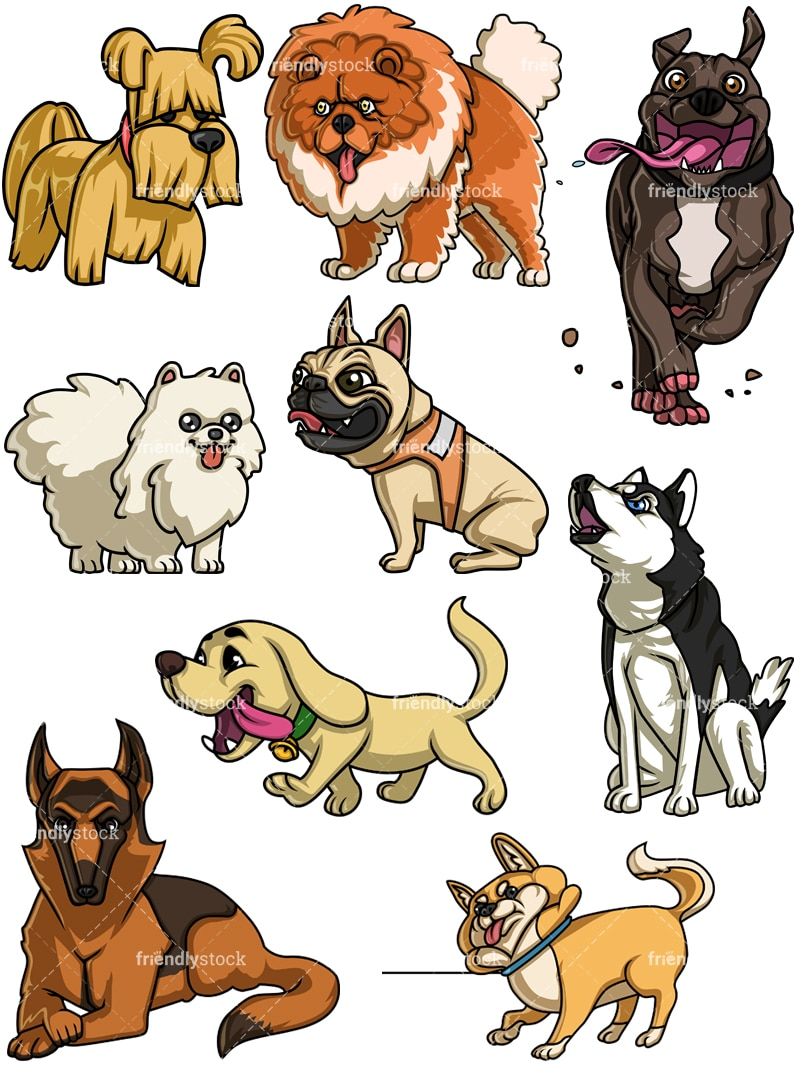 Dogs Collection Five Cartoon Vector Clipart - FriendlyStock