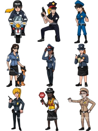 Female police officers collection no2. PNG - JPG and vector EPS file formats (infinitely scalable). Images isolated on transparent background.