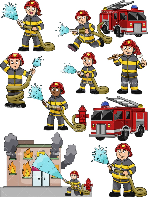 Firefighters in action. PNG - JPG and vector EPS file formats (infinitely scalable).