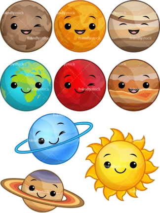 Kawaii solar system. PNG - JPG and vector EPS file formats (infinitely scalable).