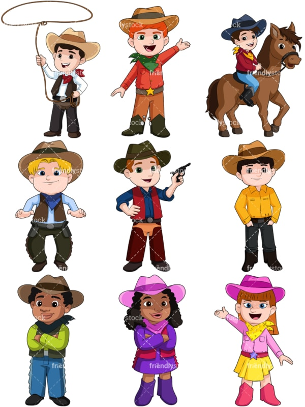 Kids as cowboys. PNG - JPG and vector EPS file formats (infinitely scalable). Image isolated on transparent background.