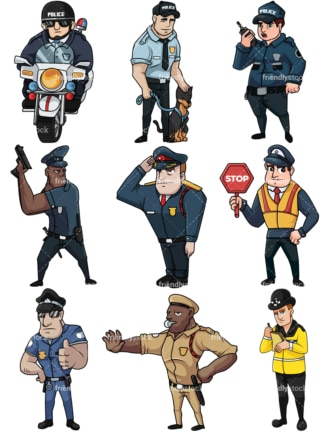 Male police officers collection no2. PNG - JPG and vector EPS file formats (infinitely scalable). Images isolated on transparent background.