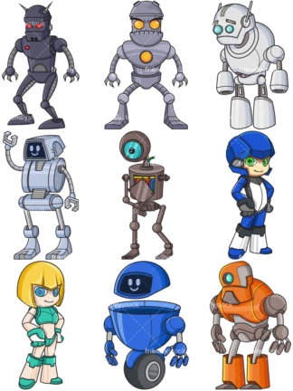 Robots collection. PNG - JPG and vector EPS file formats (infinitely scalable).