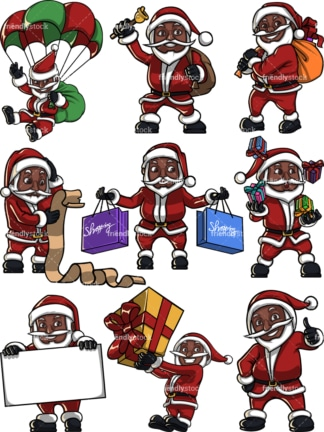 Cute black santa claus. PNG - JPG and vector EPS file formats (infinitely scalable). Image isolated on transparent background.