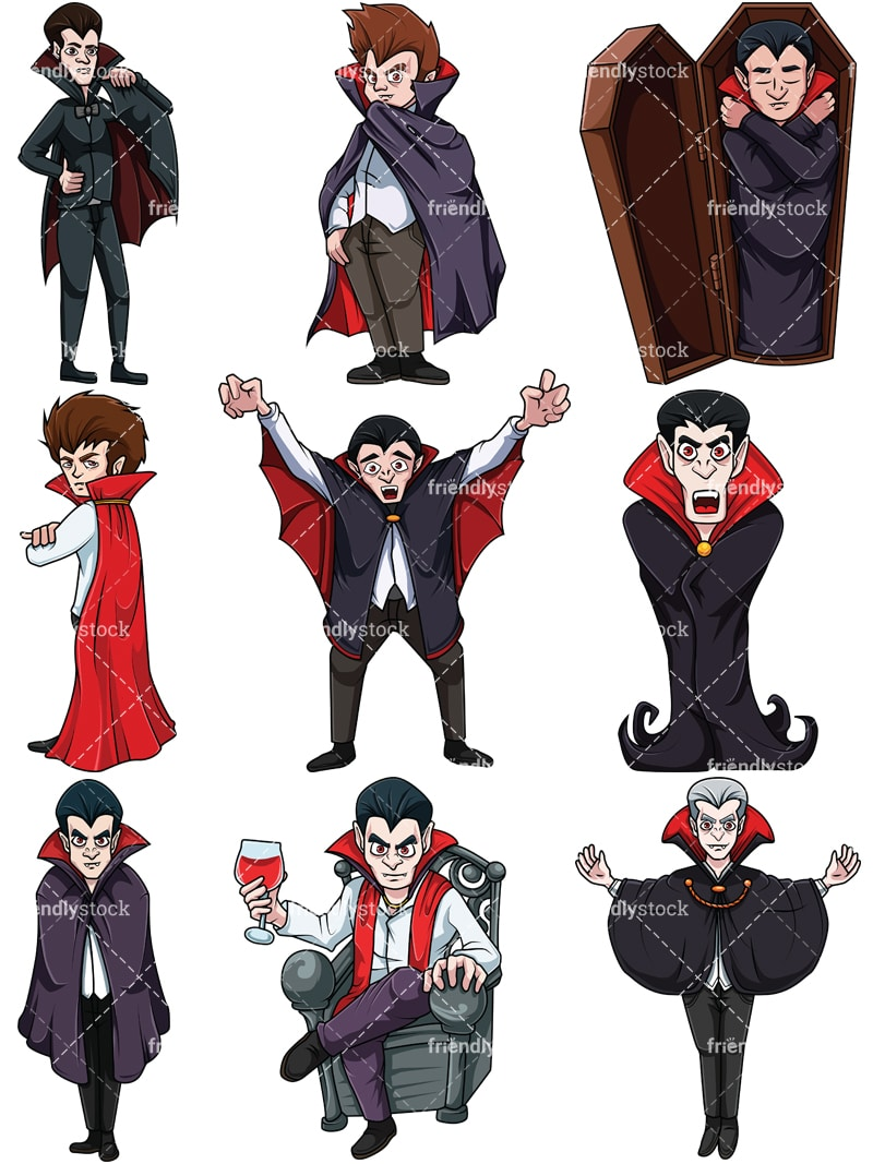 Vampire Cartoon Characters Vector Clipart - FriendlyStock