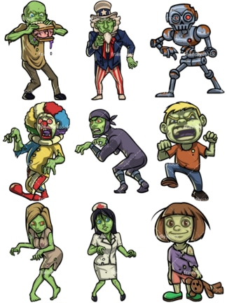 Scary zombies. PNG - JPG and vector EPS file formats (infinitely scalable).