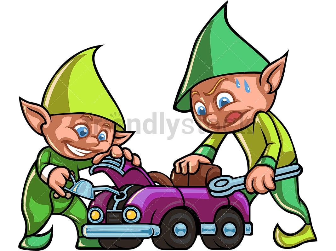 Christmas Elves.Two Christmas Elves Working Together To Build A Car Toy For Children