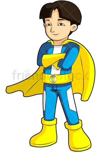 Asian boy superhero. PNG - JPG and vector EPS (infinitely scalable). Image isolated on transparent background.