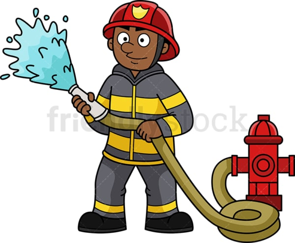 Black firefighter. PNG - JPG and vector EPS (infinitely scalable).