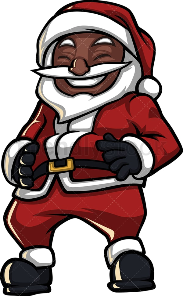 Black santa claus laughing hard. PNG - JPG and vector EPS (infinitely scalable).