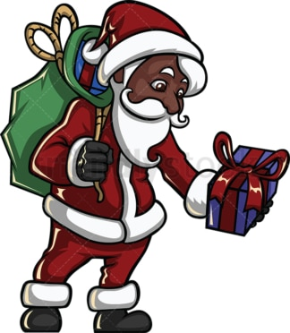 Black santa claus leaving christmas gift. PNG - JPG and vector EPS file formats (infinitely scalable). Image isolated on transparent background.