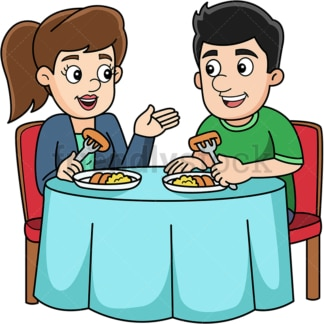 Man and woman eating at their house. PNG - JPG and vector EPS (infinitely scalable).
