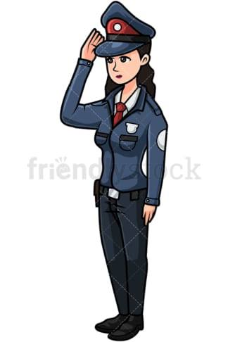 Cute policewoman saluting. PNG - JPG and vector EPS file formats (infinitely scalable). Image isolated on transparent background.