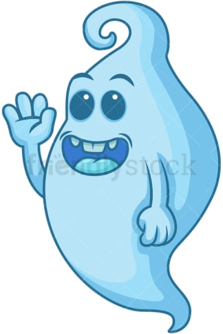 Friendly blue ghost. PNG - JPG and vector EPS (infinitely scalable).