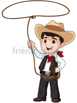 Boy cowboy with lasso. PNG - JPG and vector EPS file formats (infinitely scalable). Image isolated on transparent background.