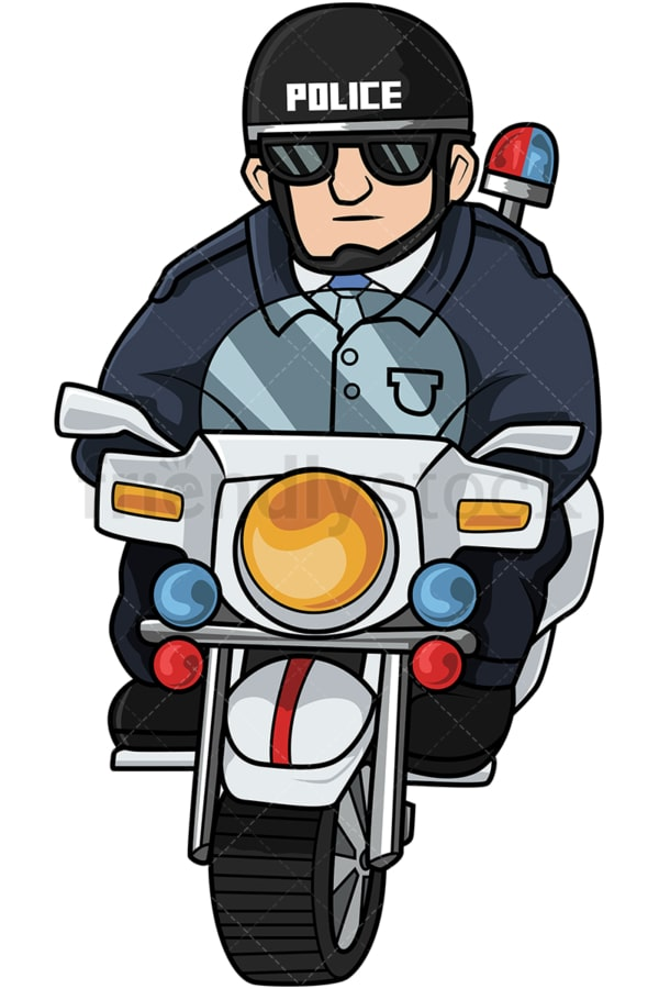 Police officer riding motorcycle. PNG - JPG and vector EPS file formats (infinitely scalable). Image isolated on transparent background.
