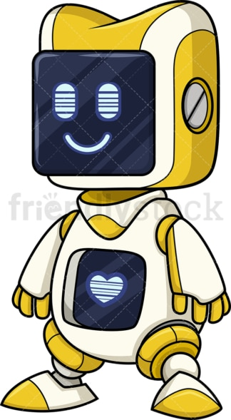 Yellow robot with heart. PNG - JPG and vector EPS (infinitely scalable).