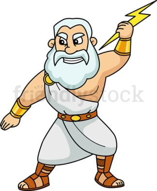 Zeus holding a lightning bolt. PNG - JPG and vector EPS file formats (infinitely scalable). Image isolated on transparent background.