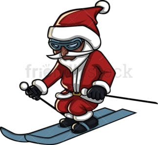 Black santa claus skiing. PNG - JPG and vector EPS (infinitely scalable). Image isolated on transparent background.