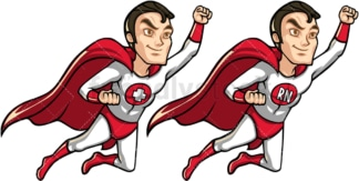 Male nurse superhero flying like superman. PNG - JPG and vector EPS file formats (infinitely scalable). Image isolated on transparent background.