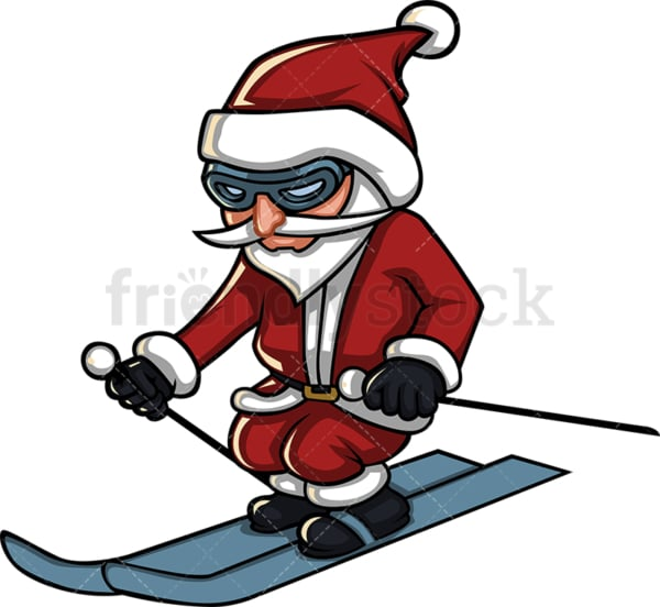 Short santa claus skiing. PNG - JPG and vector EPS (infinitely scalable). Image isolated on transparent background.