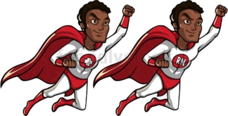 Black male nurse superhero flying. PNG - JPG and vector EPS file formats (infinitely scalable). Image isolated on transparent background.