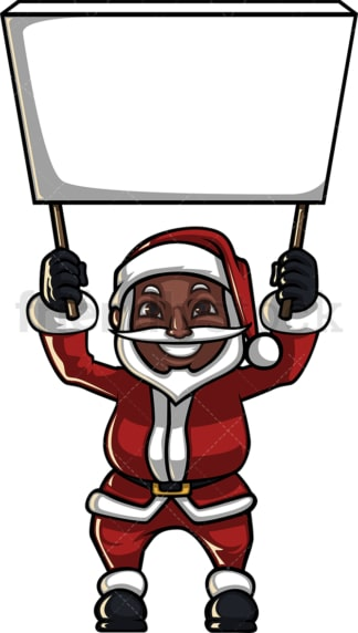 Black santa claus holding empty billboard. PNG - JPG and vector EPS (infinitely scalable). Image isolated on transparent background.