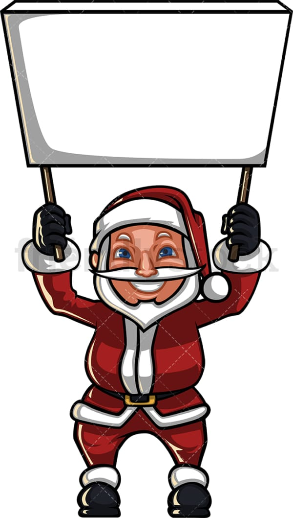 Santa claus holding empty billboard sign. PNG - JPG and vector EPS (infinitely scalable). Image isolated on transparent background.