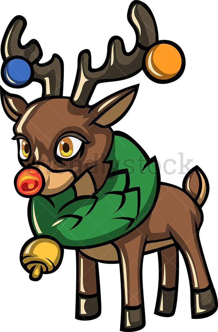 Cute Rudolph The Reindeer Cartoon Vector Clipart ...
